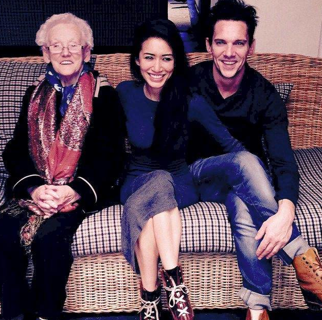 The engaged pair and his grandmother