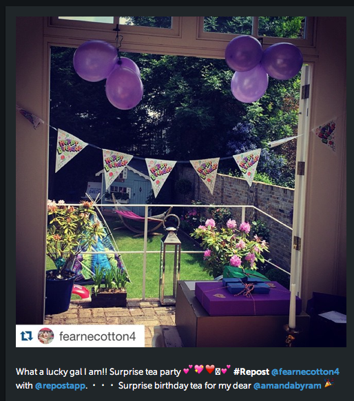Amanda had the perfect birthday, thrown by UK star Fearne Cotton