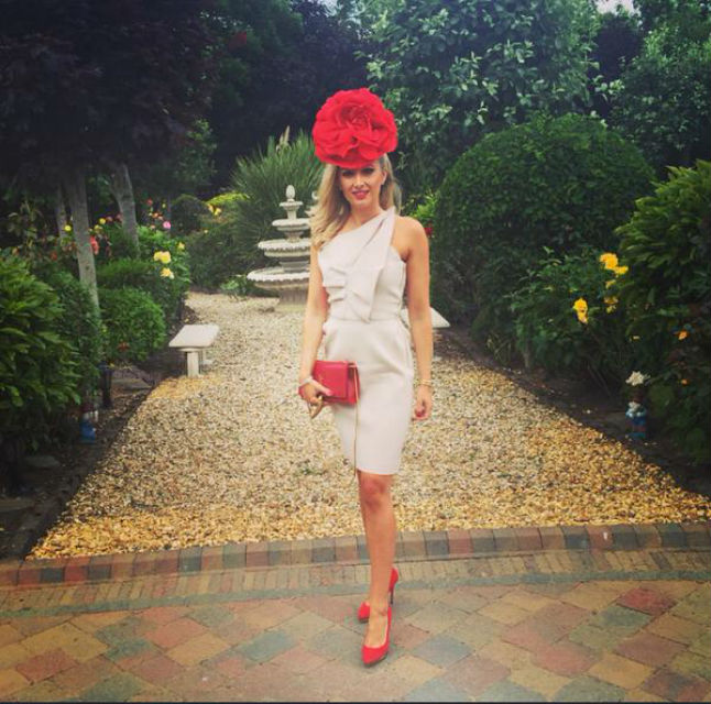 Jane Given looks stunning in her nude and red combo