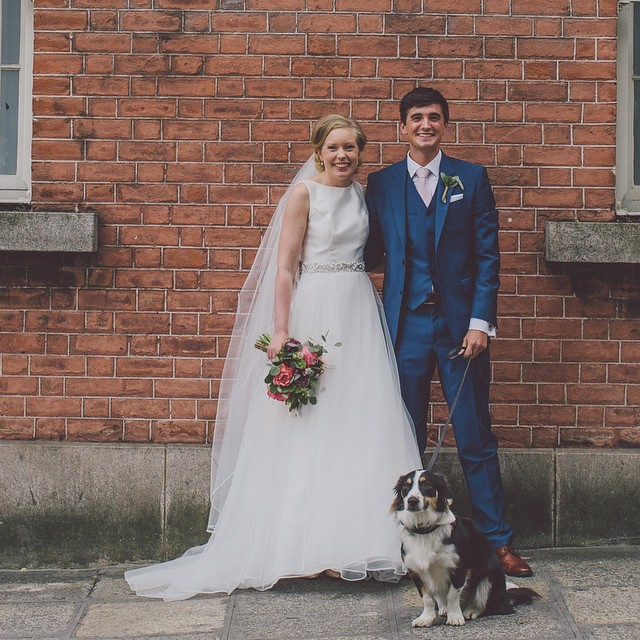 The pair - and their pooch - on their special day last week