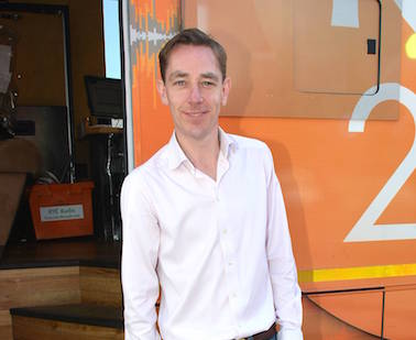 Ryan Tubridy got in on the April Fools Day fun by telling listeners he was broadcasting from a Chipper Van when in fact he was working out of the 2FM Roadcaster at the Bord Gais Energy Theatre with Maia Dunphy as a guest, Dublin, Ireland - 01.04.14. Pictures: Cathal Burke / VIPIRELAND.COM *** Local Caption *** Ryan Tubridy