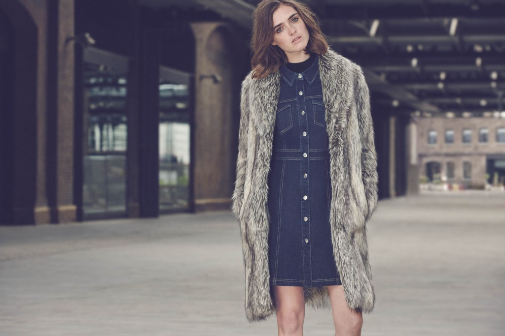 WAREHOUSE_AW15Fit and Flare dress €63, Lux Faux Fur coat €128