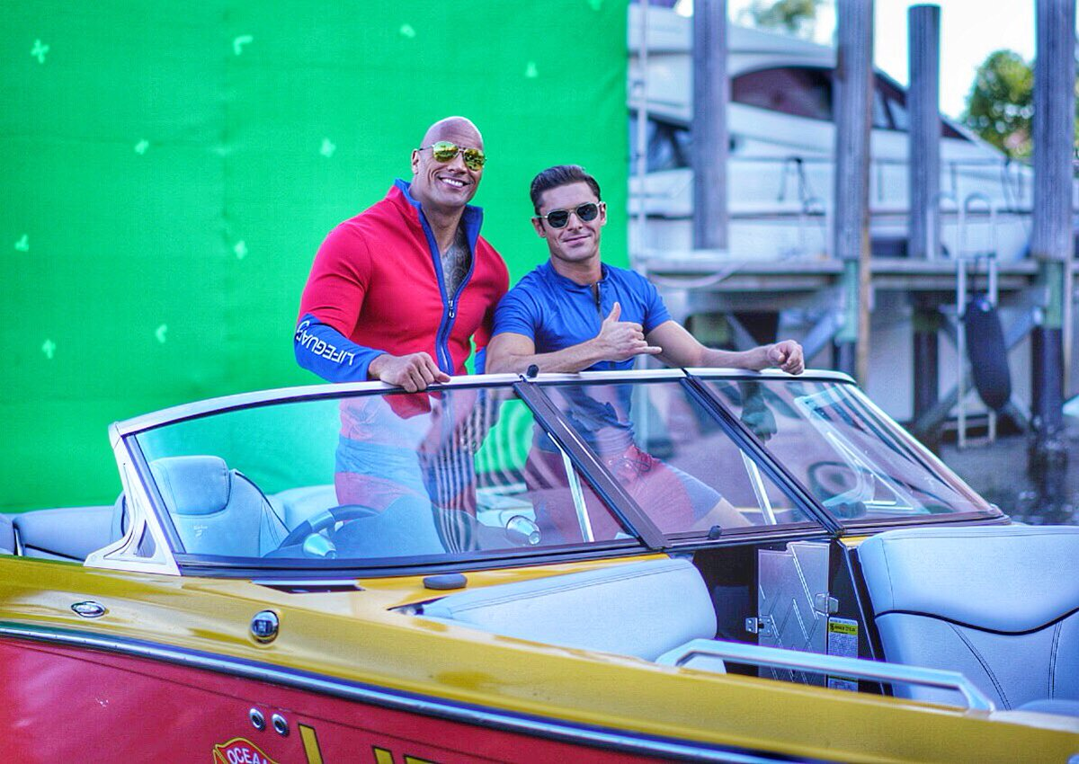 Zac on the set of Baywatch with The Rock.