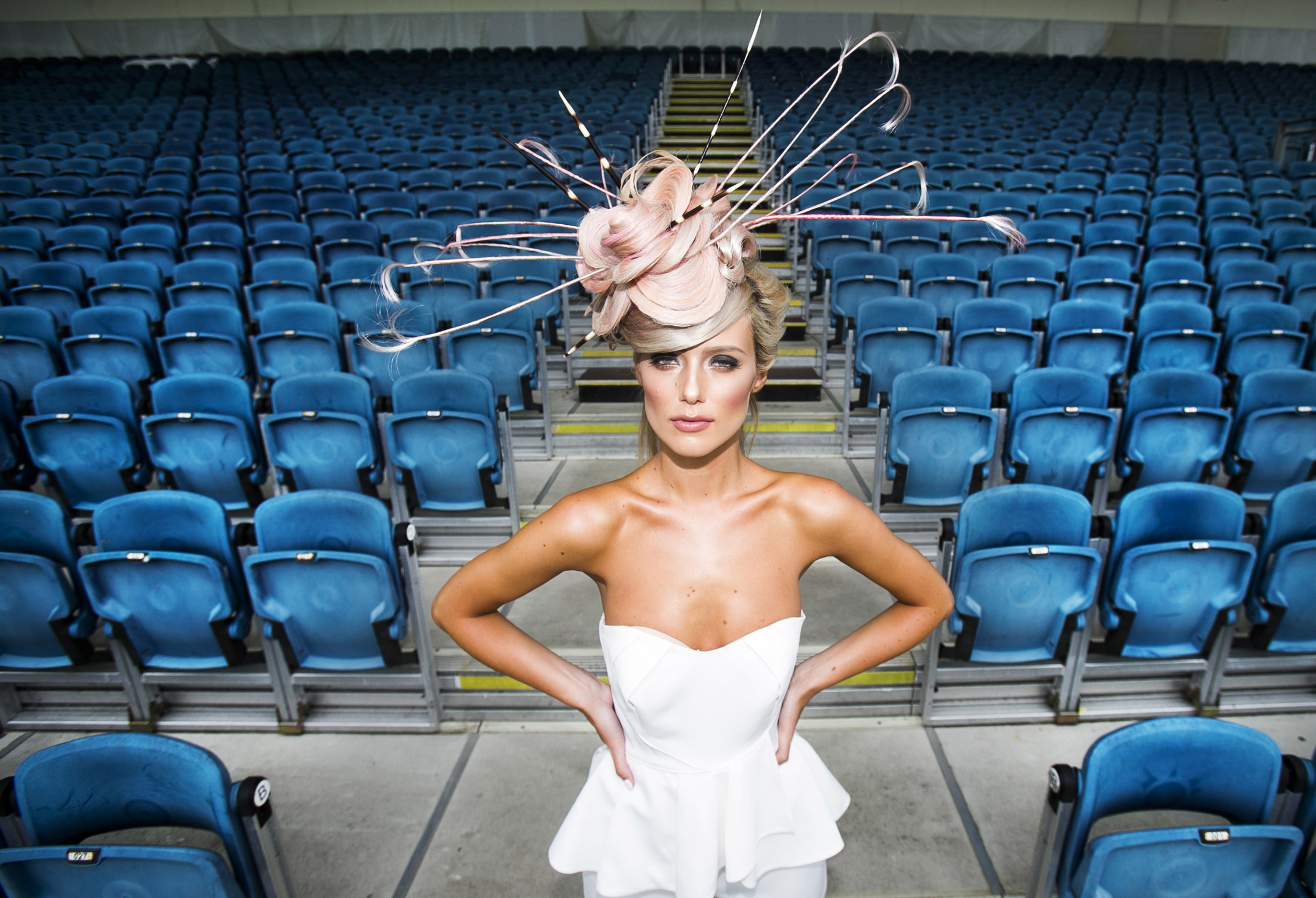 Gracie O'Mahony pictured wearing a bespoke headpiece created out of Great Lengths Hair