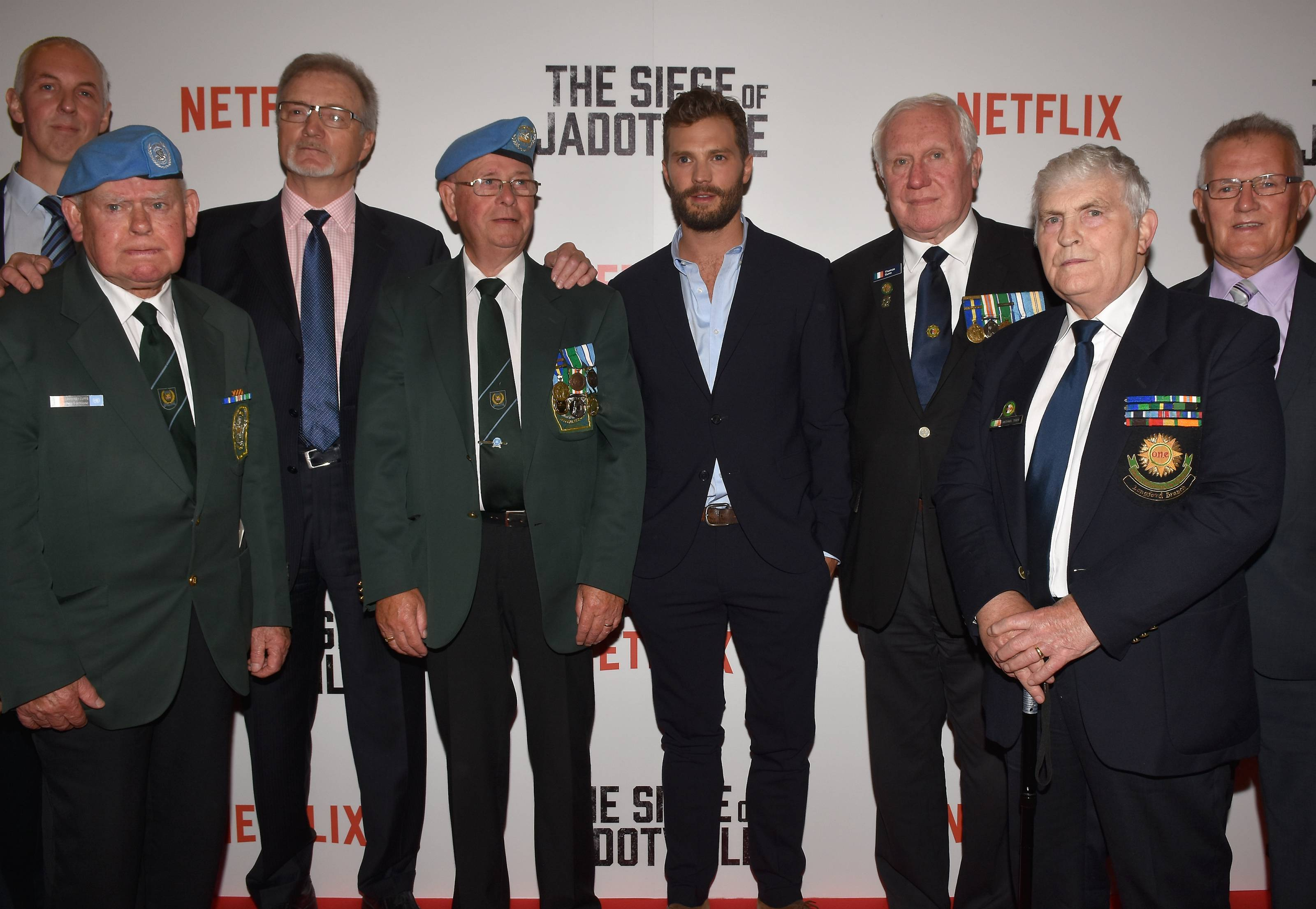 Jamie and the veterans at the premiere